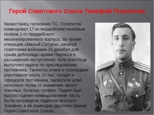 Герой Советского Союза Тимофей Позолотин Казахстанец полковник Т.С. Позолотин