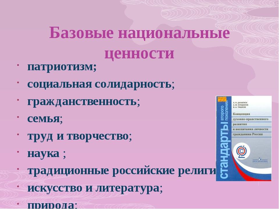 Базовые национальные ценности патриотизм; социальная солидарность; гражданств...