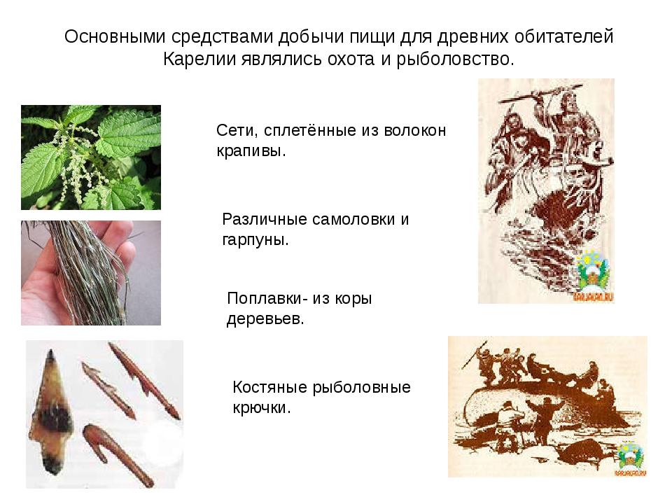 Основными средствами добычи пищи для древних обитателей Карелии являлись охот...