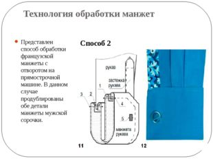 Технология обработки манжет Представлен способ обработки французской манжеты