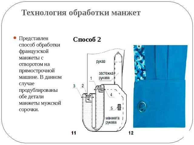Технология обработки манжет Представлен способ обработки французской манжеты...