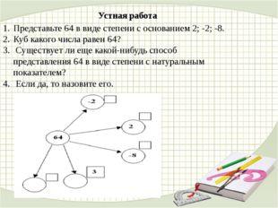 Устная работа Представьте 64 в виде степени с основанием 2; -2; -8. Куб каког