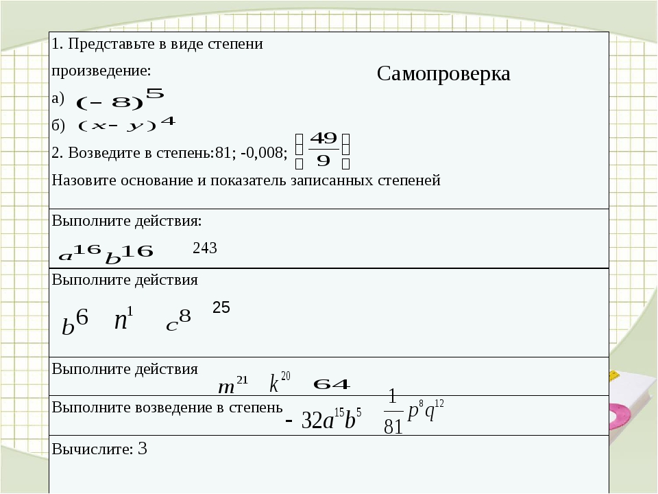Самопроверка 1. Представьте в виде степени произведение: а) б) 2.Возведите вс...