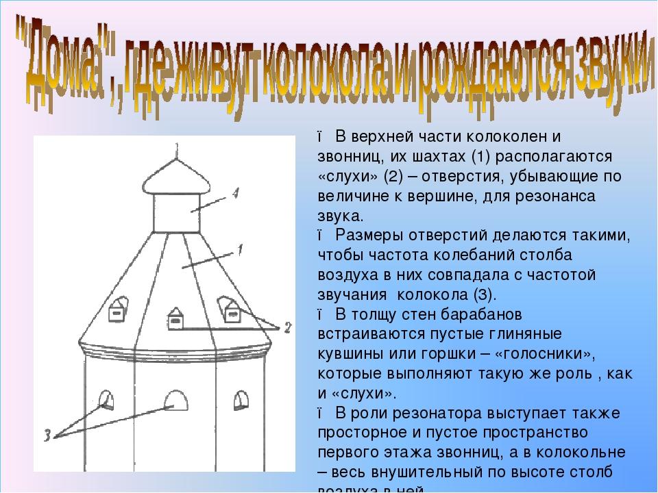 ● В верхней части колоколен и звонниц, их шахтах (1) располагаются «слухи» (2...