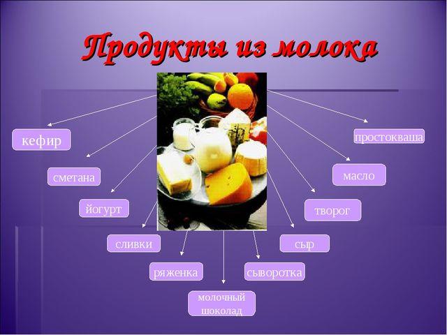 Продукты из молока кефир творог сливки сметана масло йогурт сыворотка молочны...