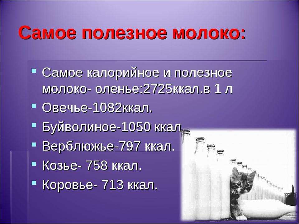 Самое полезное молоко: Самое калорийное и полезное молоко- оленье:2725ккал.в...