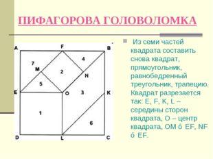 ПИФАГОРОВА ГОЛОВОЛОМКА Из семи частей квадрата составить снова квадрат, прямо