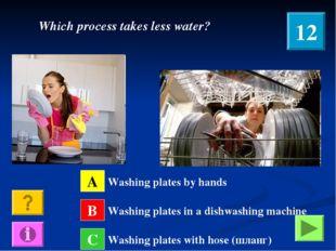 A B C Washing plates by hands Washing plates in a dishwashing machine Washing