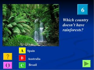 Which country doesn't have rainforests? A B C Spain Australia Brazil 6