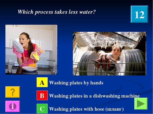 A B C Washing plates by hands Washing plates in a dishwashing machine Washing...