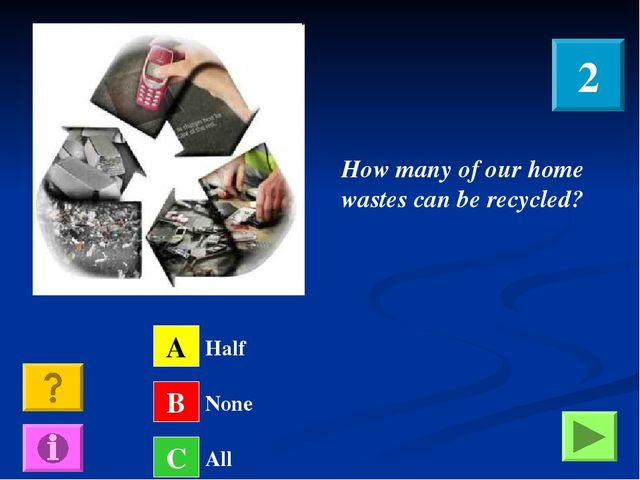 How many of our home wastes can be recycled? A B C Half None All 2