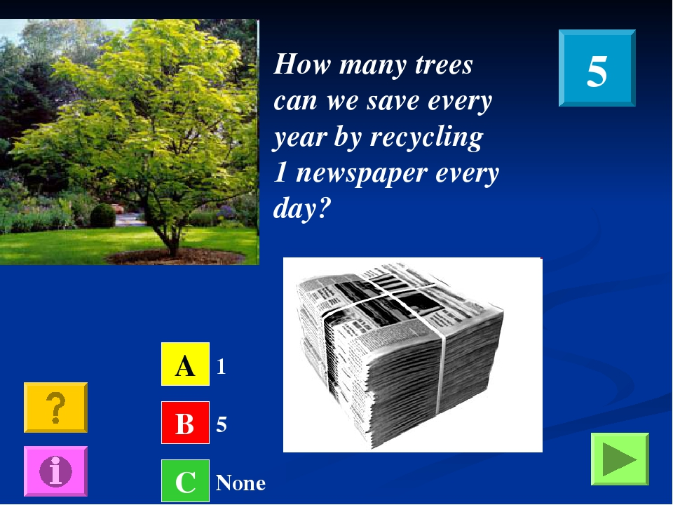 How many trees can we save every year by recycling 1 newspaper every day? A B...
