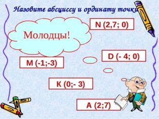 Назовите абсциссу и ординату точки А (2;7) К (0;- 3) М (-1;-3) D (- 4; 0) N (