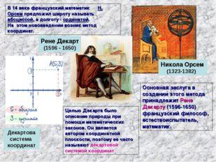 В 14 веке французский математик Н. Орсем предложил широту называть абсциссой,
