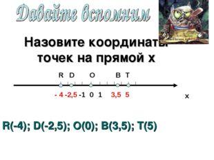 Назовите координаты точек на прямой х х O 0 R 1 -1 D - 4 -2,5 3,5 5 T B R(-4)