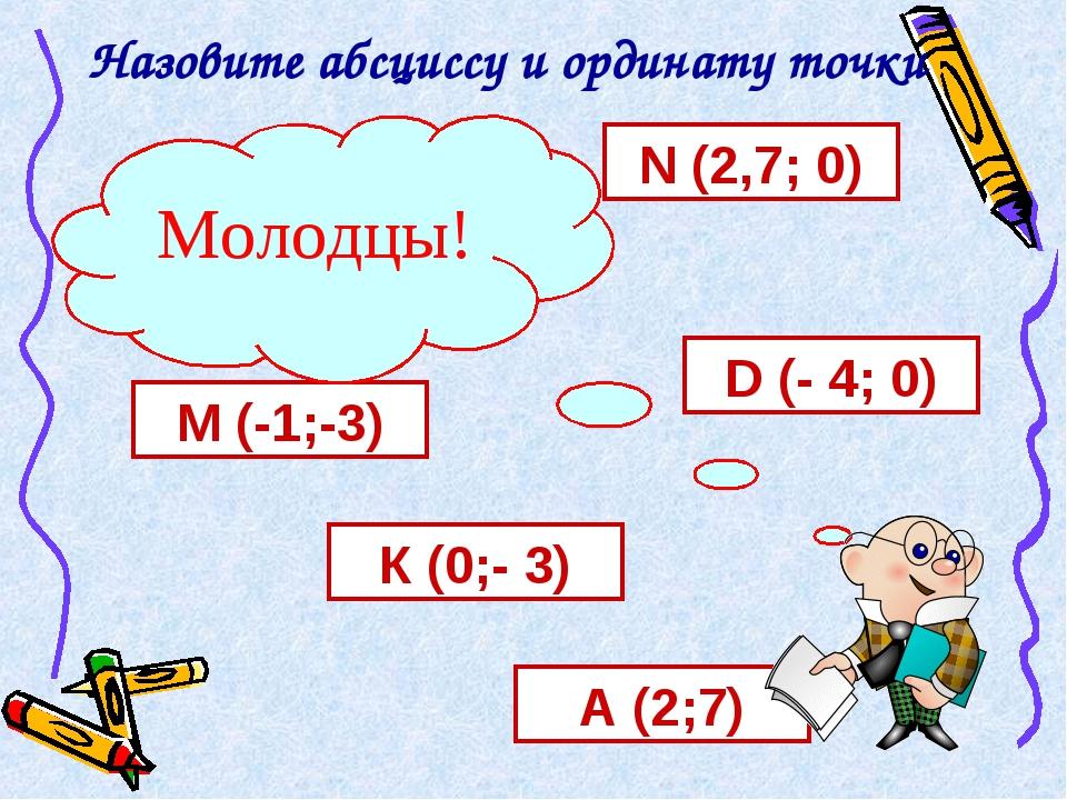 Назовите абсциссу и ординату точки А (2;7) К (0;- 3) М (-1;-3) D (- 4; 0) N (...