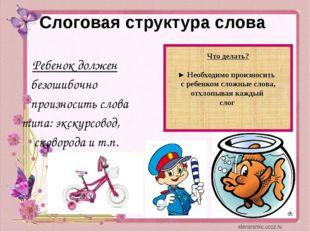 Слоговая структура слова Ребенок должен безошибочно произносить слова типа: э