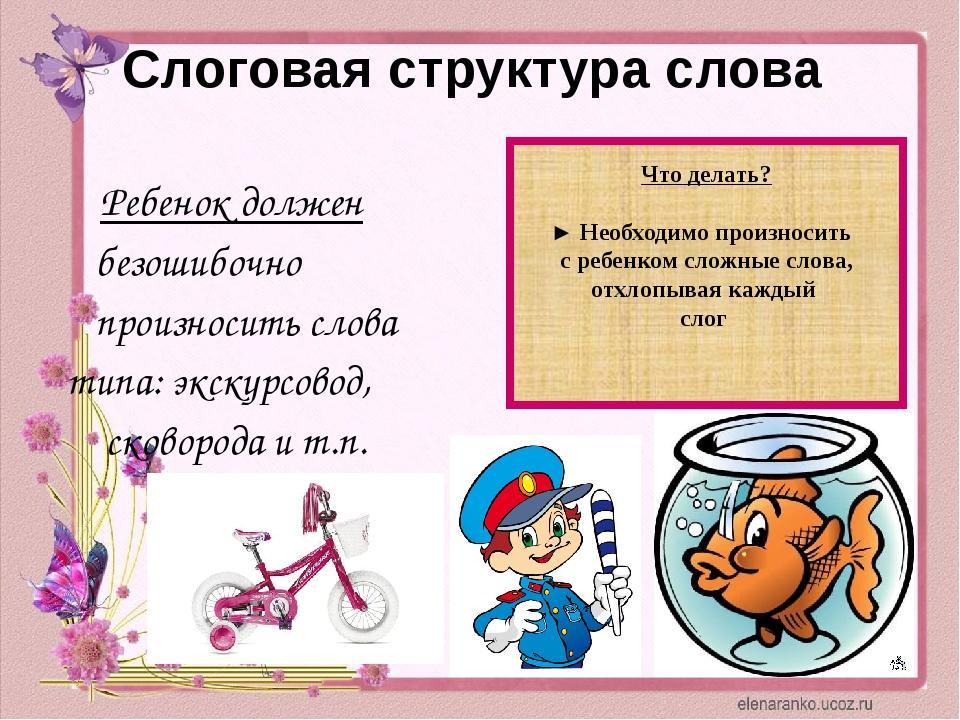 Слоговая структура слова Ребенок должен безошибочно произносить слова типа: э...