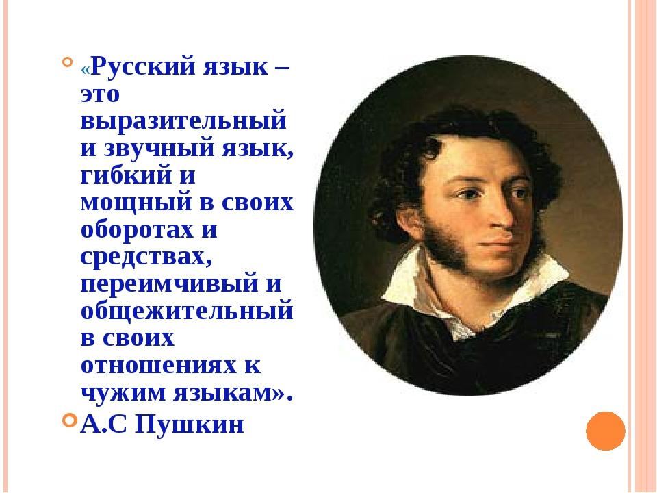 «Русский язык – это выразительный и звучный язык, гибкий и мощный в своих обо...