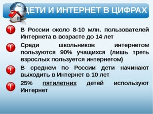 В России около 8-10 млн. пользователей Интернета в возрасте до 14 лет Среди ш