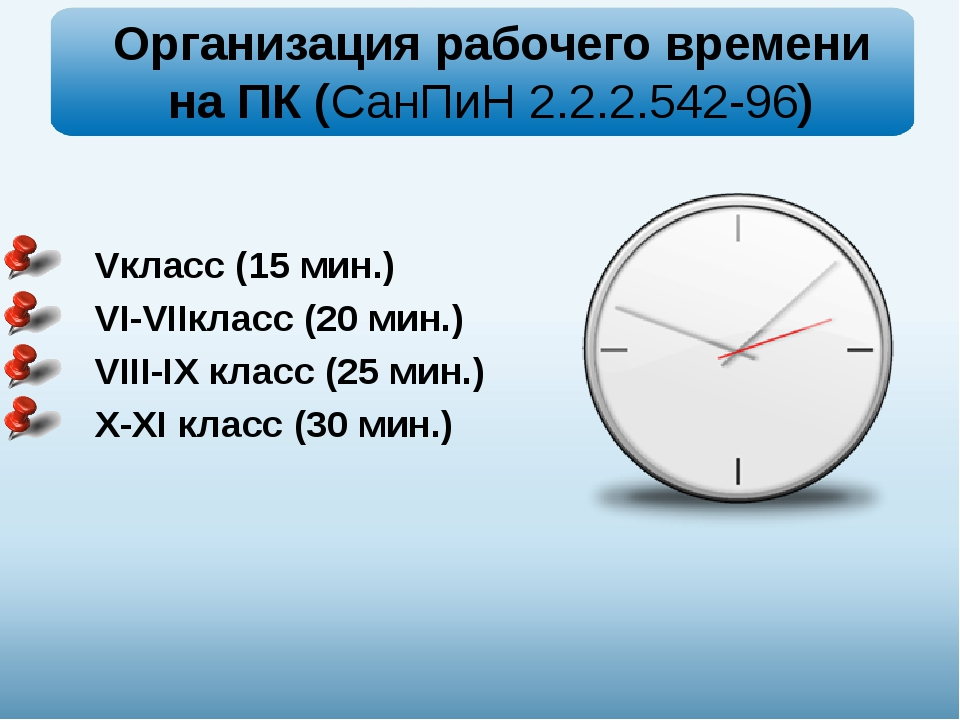 Организация рабочего времени на ПК (СанПиН 2.2.2.542-96) Vкласс (15 мин.) VI...