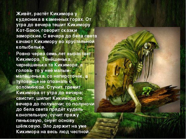 Живёт, растёт Кикимора у кудесника в каменных горах. От утра до вечера тешит...