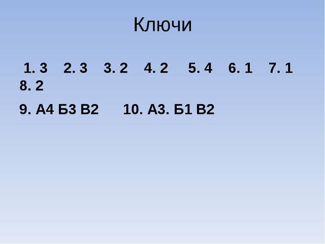 Ключи 1. 3 2. 3 3. 2 4. 2 5. 4 6. 1 7. 1 8. 2 9. А4 Б3 В2 10. А3. Б1 В2