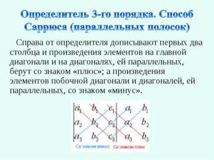 Справа от определителя дописывают первых два столбца и произведения элементов
