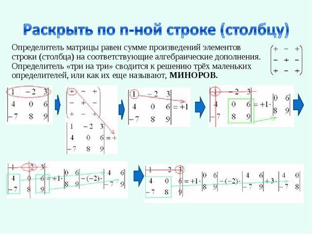 Определитель матрицы равен сумме произведений элементов строки (столбца) на с...