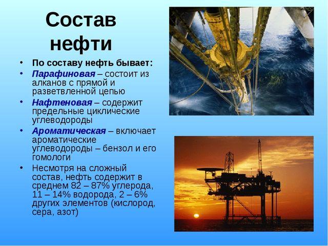 Состав нефти По составу нефть бывает: Парафиновая – состоит из алканов с прям...
