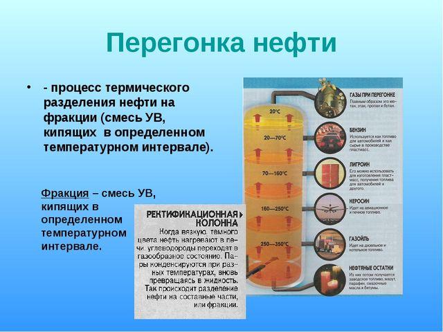 Перегонка нефти - процесс термического разделения нефти на фракции (смесь УВ,...