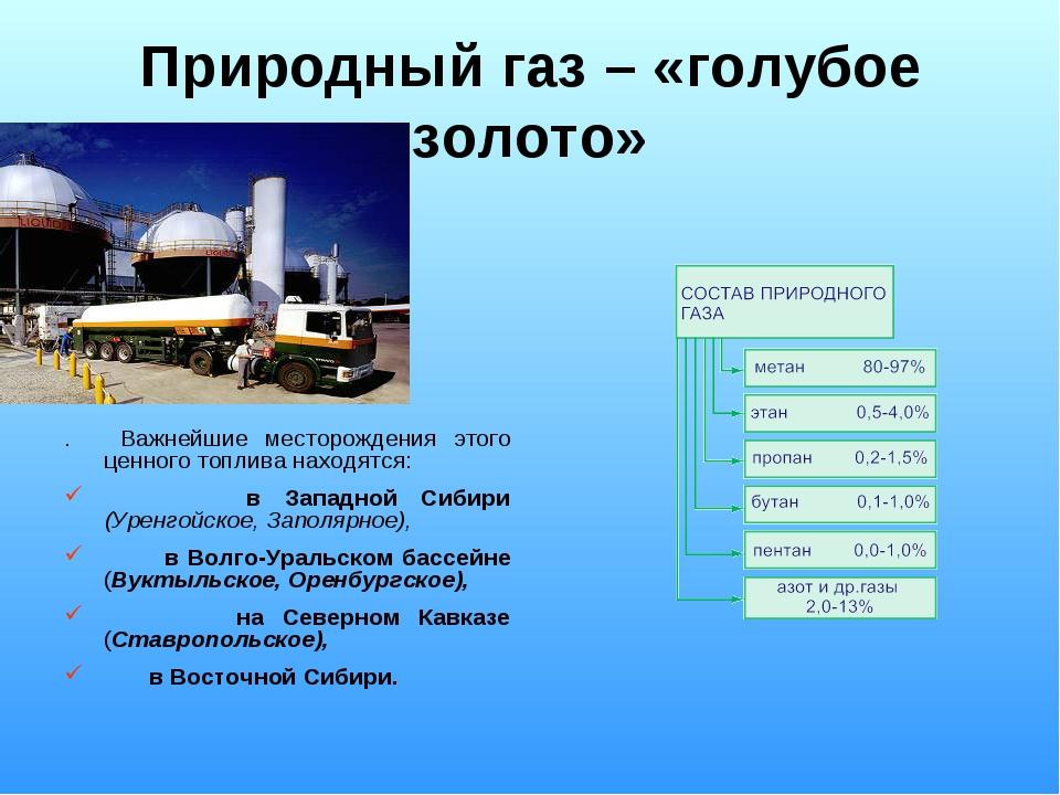 Природный газ – «голубое золото» . Важнейшие месторождения этого ценного топл...