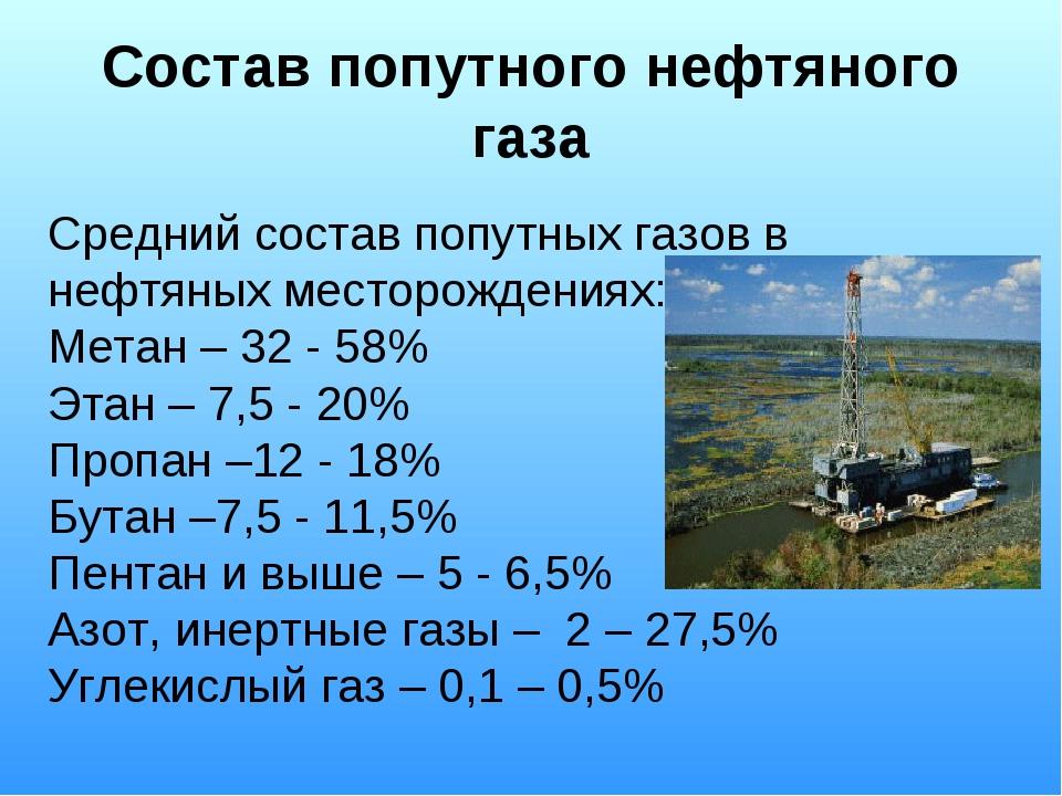 Состав попутного нефтяного газа Средний состав попутных газов в нефтяных мест...
