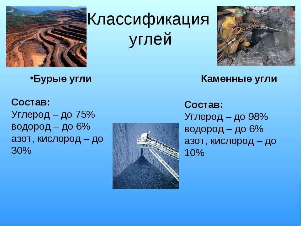 Классификация углей Состав: Углерод – до 75% водород – до 6% азот, кислород –...