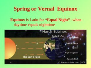 "* Spring or Vernal Equinox Equinox is Latin for ""Equal Night"" -when daytime e"