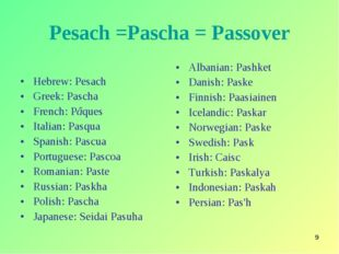 * Pesach =Pascha = Passover Hebrew: Pesach Greek: Pascha French: Pâques Itali