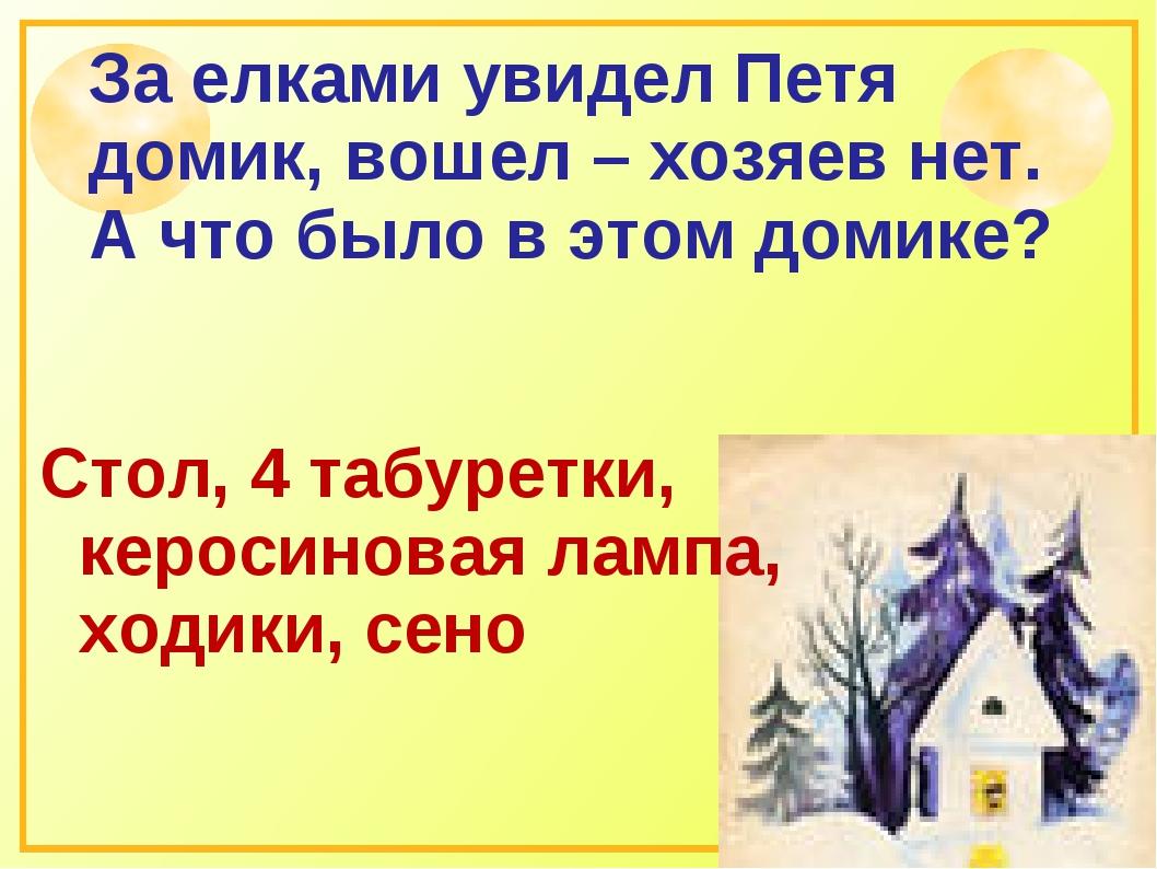 За елками увидел Петя домик, вошел – хозяев нет. А что было в этом домике? Ст...