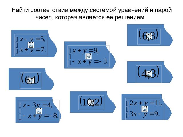Найти соответствие между системой уравнений и парой чисел, которая является...