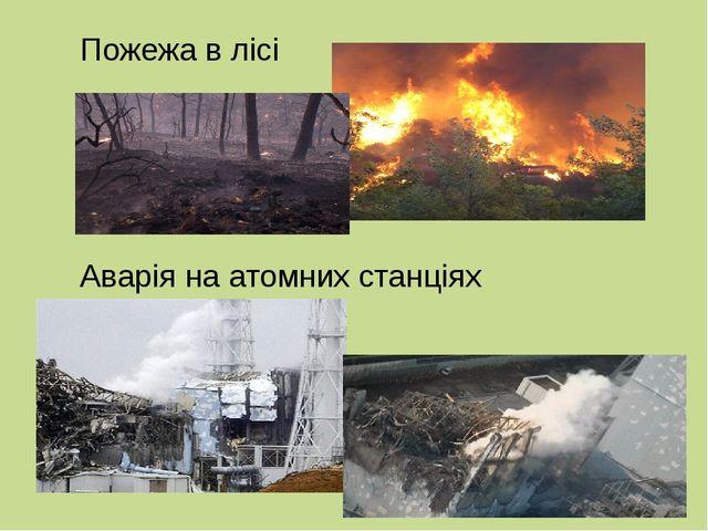 Пожежа в лісі Аварія на атомних станціях