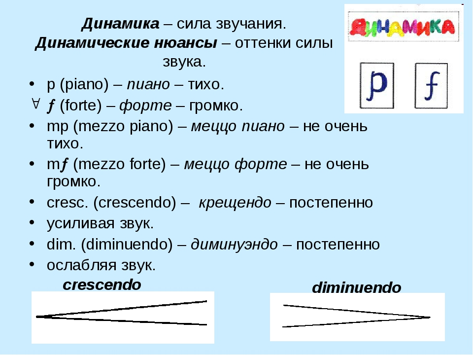 Динамика – сила звучания. Динамические нюансы – оттенки силы звука. p (piano)...