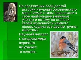 На протяжении всей долгой истории изучения органического мира Земли птицы при