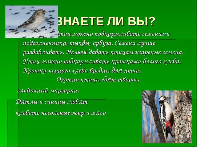 ЗНАЕТЕ ЛИ ВЫ? Птиц можно подкармливать семенами подсолнечника, тыквы, арбуза...