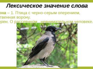 Ворона – 1. Птица с черно-серым оперением, родственная ворону. 2. Перен. О ра