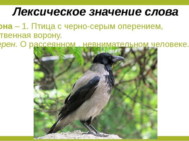 Ворона – 1. Птица с черно-серым оперением, родственная ворону. 2. Перен. О ра...