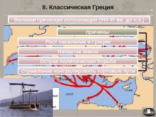 II. Классическая Греция Великая греческая колонизация (VIII-VI вв. до н.э.) п