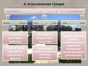 II. Классическая Греция Возвышение Афин (VI в. до н.э.) Солон Писистрат Клисф