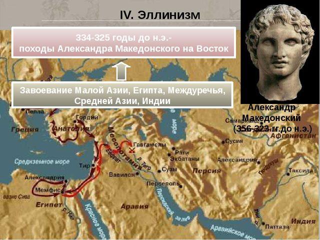 IV. Эллинизм Александр Македонский (356-323 гг.до н.э.) 334-325 годы до н.э.-...
