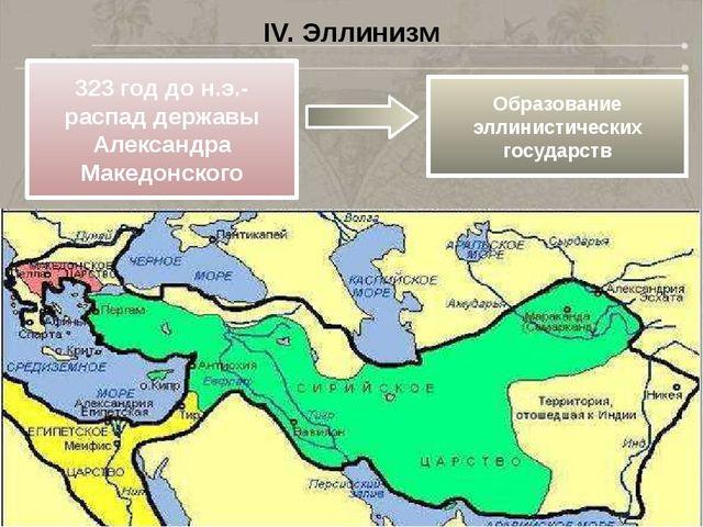 IV. Эллинизм 323 год до н.э.- распад державы Александра Македонского Образова...