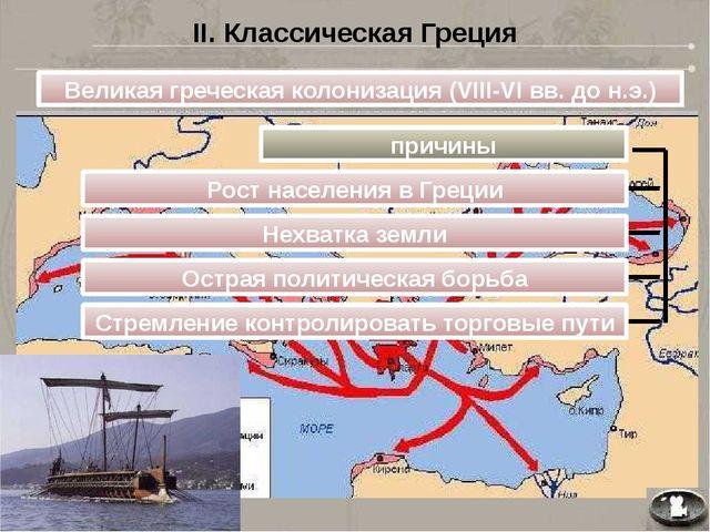 II. Классическая Греция Великая греческая колонизация (VIII-VI вв. до н.э.) п...
