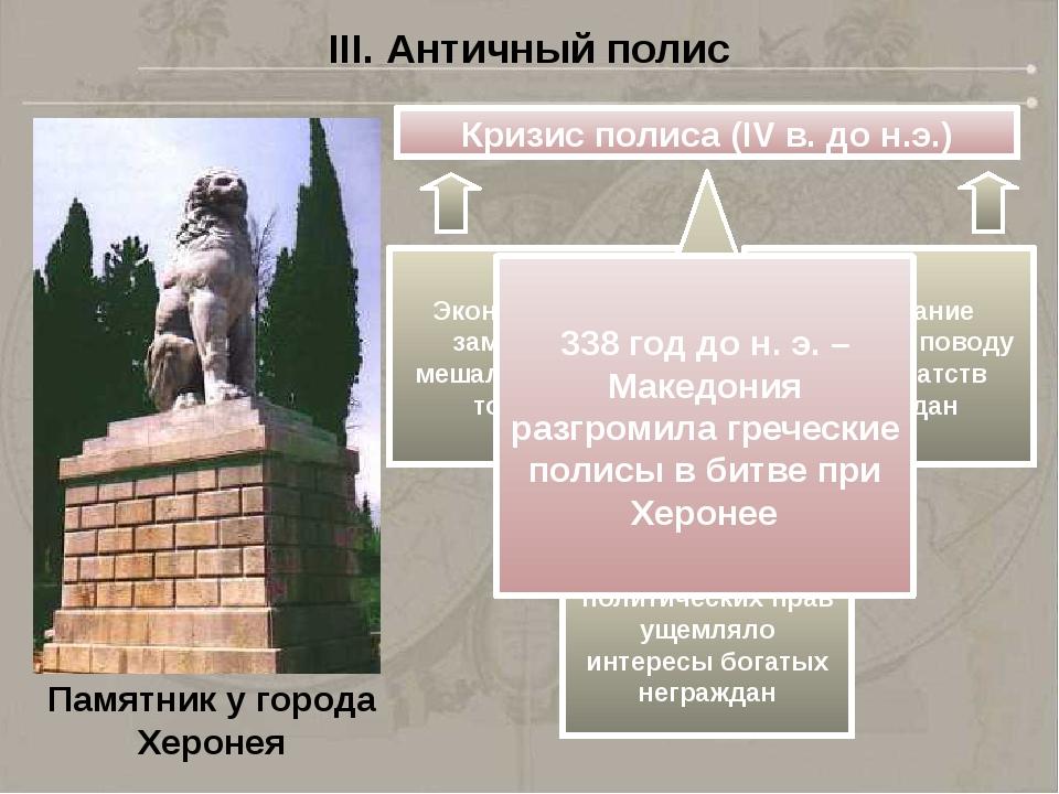 Кризис полиса (IV в. до н.э.) III. Античный полис Экономическая замкнутость м...